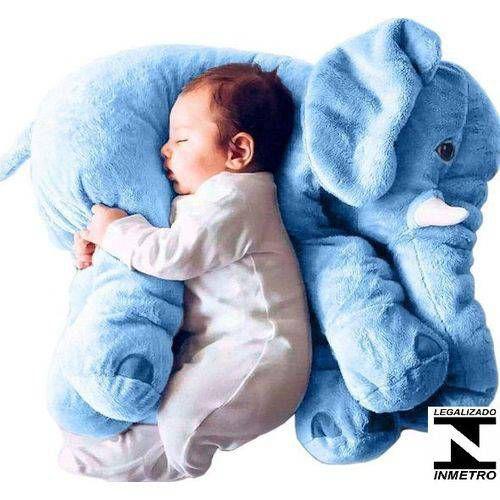 Almofada Travesseiro Elefante Bebê Dormir 45 Cm Azul