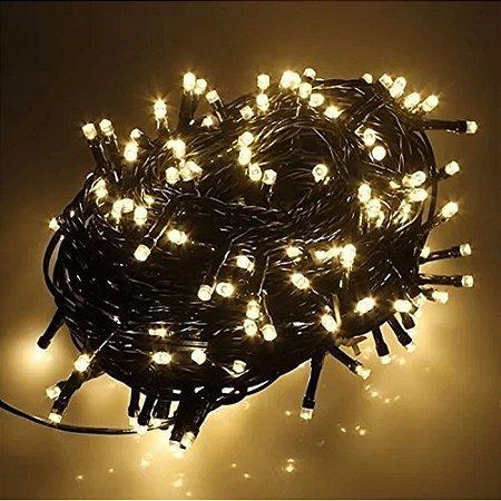 Pisca-Pisca Branco Quente Led 100 Leds funcoes Para Decoração De Festa / Natal 5 metros -110v