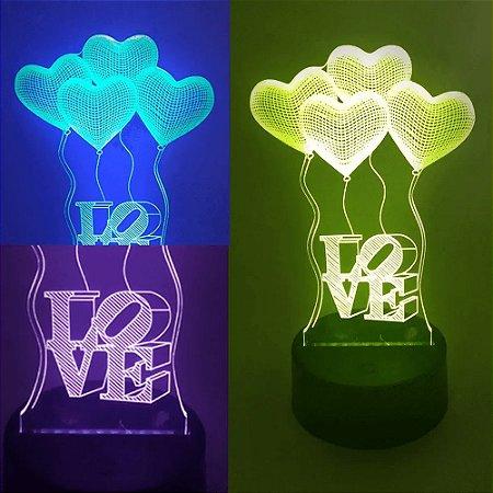 Luminária de Mesa de LED 3D Criativa Love Amor Coração / Luz Noturna Decorativa