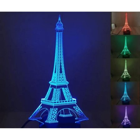 Luminária de Mesa de LED 3D Criativa Torre Eiffel / Luz Noturna Decorativa