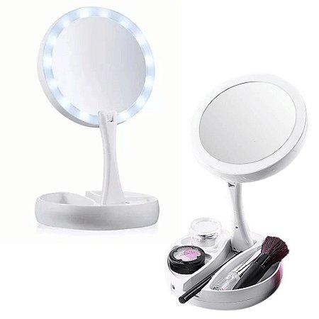 Espelho De Mesa Com Aumento 10x Led Dobrável Para Maquiagem