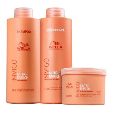 Kit Wella Invigo Enrich Shampoo + Condicionador 1000 Ml + Mascara 500 Ml