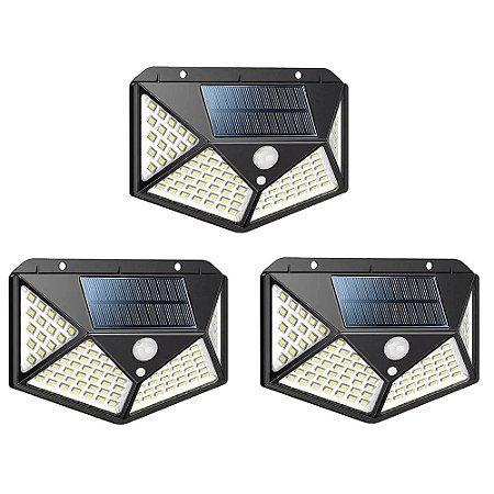 Kit 3 Luminária Solar Parede 100led Sensor Presença 3 Funções