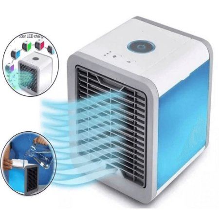 Mini Ventilador Portátil Cooler Umidificador Luz Led