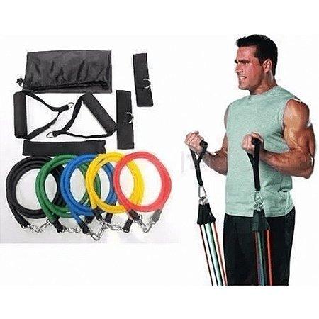 Kit Elásticos Extensores 11 Peças Exercícios Musculação Yoga Crossfit Pilates Fitness Funcional