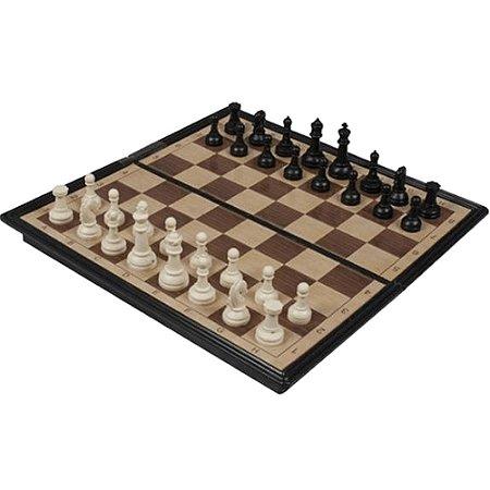 Jogo de Xadrez Dobravel 1 Tabuleiro e 32 Peças para até 2 Jogadores