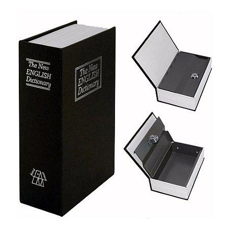 Cofre Livro Camuflado Formato Dicionário Inglês Porta Joias 180 x 115 mm