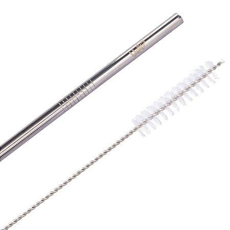 Kit Canudo Metal com Limpador Prata
