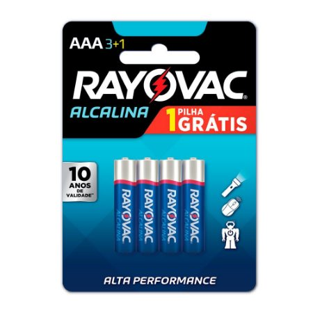 Pilha Alcalina Palito AAA4 Rayovac