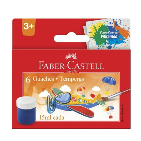Tinta Guache 15ml 6 Cores Faber-Castell