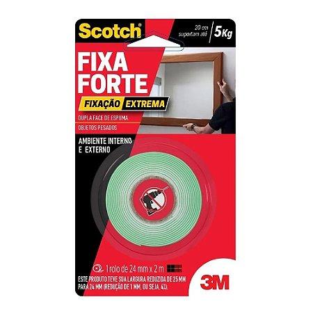 Fita Dupla Face 3M Fixa Forte 24mm x 2m Fixação Extrema