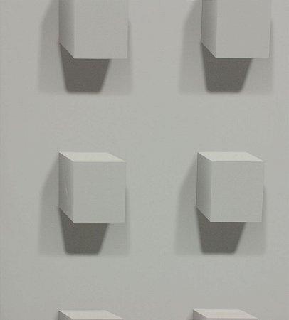 Papel de parede Geométrico 3D - Cubos em tom Cinza