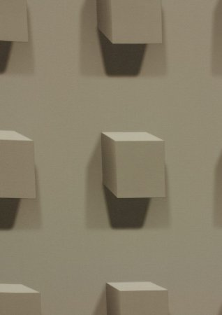 Papel de Parede Geométrico 3D - Cubos na cor bege