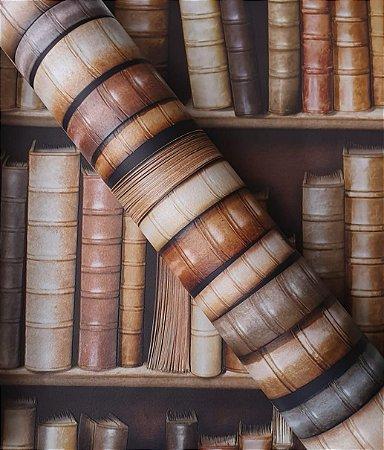 Papel de Parede 3D estante de Livros