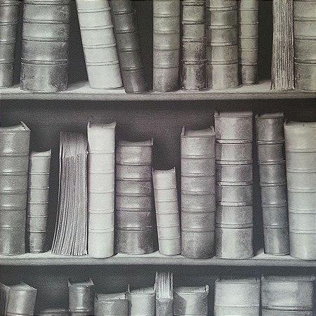 Papel de Parede 3D estante de Livros preto e branco