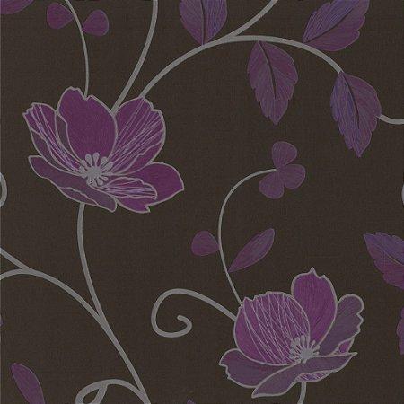 Papel de Parede Floral Roxo e Fundo Preto