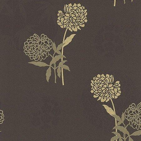 Papel de Parede Floral Dourado com fundo marrom