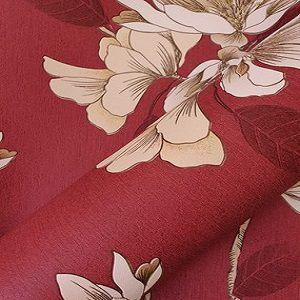 Papel De Parede Vermelho com Flores Douradas
