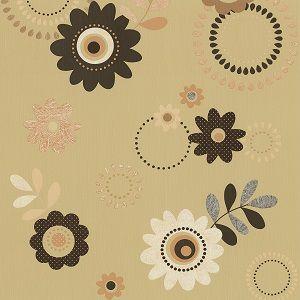 Papel de parede Floral Bege escuro