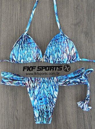 Biquini - busto cortininha com bojo removível, calcinha cortininha tiras | Estampa azul penas