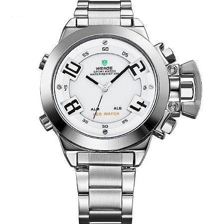 Relógio Masculino Weide Anadigi WH-1008 Prata e Branco
