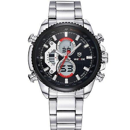 Relógio Masculino Weide Anadigi WH-3410 PR-PT
