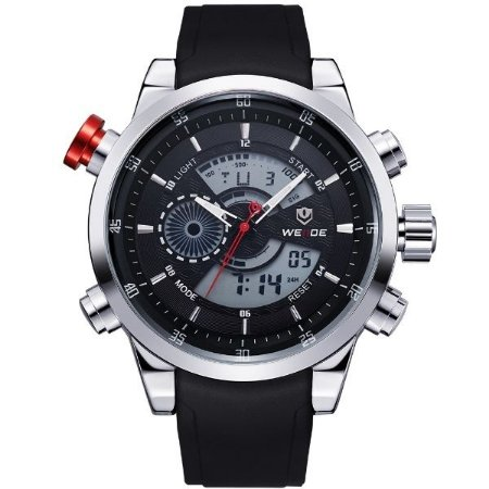 Relógio Masculino Weide Anadigi WH-3401 PR-PT