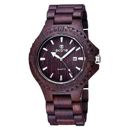 Relógio Masculino Skone Analógico Madeira 7397BG - MRE