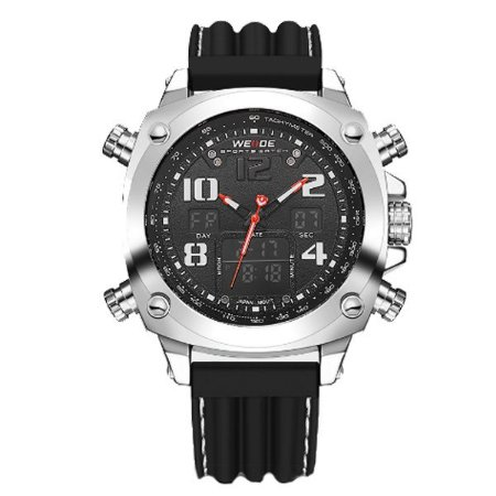 Relógio Masculino Weide Anadigi WH-5208 Preto e Prata