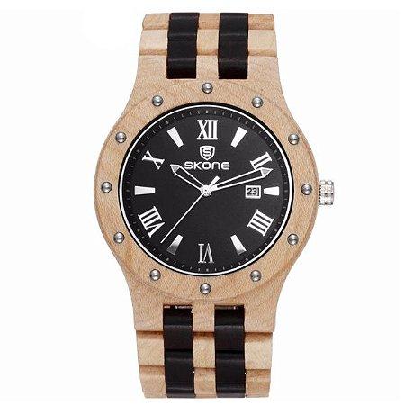 Relógio Masculino Skone Analógico Madeira 7399BG Bege e Preto