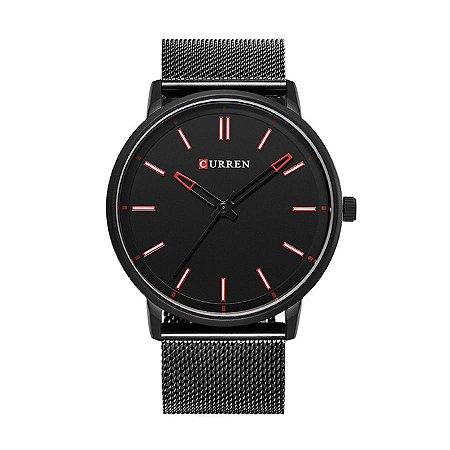 Relógio Masculino Curren Analógico 8233 Preto e Vermelho