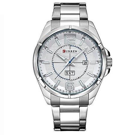 Relógio Masculino Curren Analógico 8271 Branco e Prata