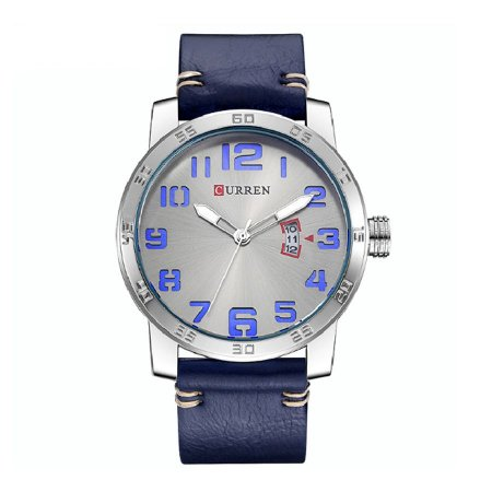 Relógio Masculino Curren Analógico 8254 Prata e Azul