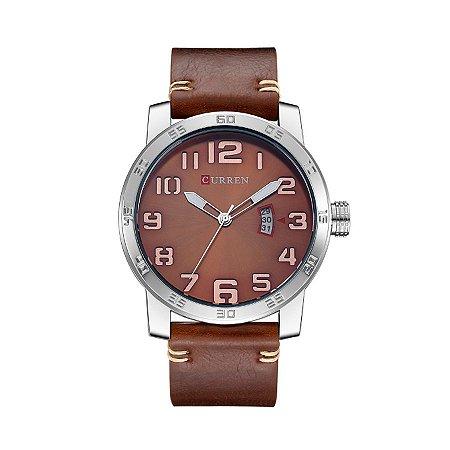 Relógio Masculino Curren Analógico 8254 Prata e Bronze