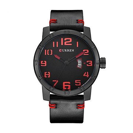 Relógio Masculino Curren Analógico 8254 Preto e Vermelho