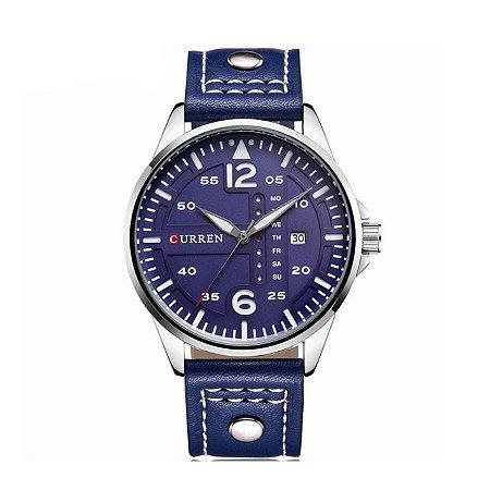 Relógio Masculino Curren Analógico 8224 Prata e Azul
