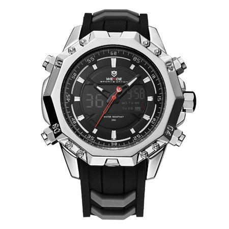 Relógio Masculino Weide Anadigi WH-6406 Prata e Preto