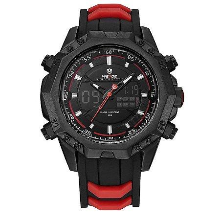 Relógio Masculino Weide Anadigi WH-6406 Preto e Vermelho