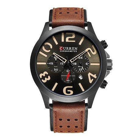 Relógio Masculino Curren Analógico 8244- Preto e Marrom