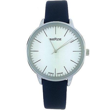 Relógio Masculino Analógico Social Berze BT238M Azul e Branco