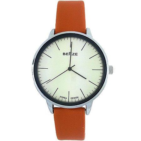 Relógio Masculino Analógico Social Berze BT238M Laranja e Bege