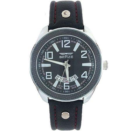 Relógio Masculino Analógico Social Berze BT173 Preto e Vermelho