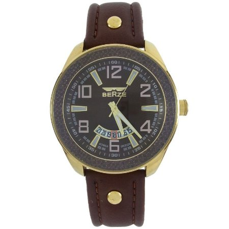 Relógio Masculino Analógico Social Berze BT173 Marrom e Dourado
