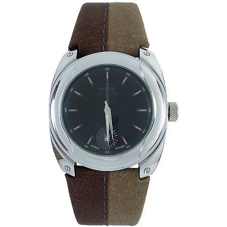 Relógio Masculino Analógico Social Berze BT169M Marrom e Caqui