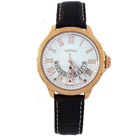 Relógio Masculino Analógico Social Berze BT164 Marrom e Branco