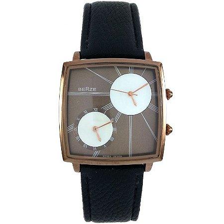 Relógio Masculino Analógico Social Berze BT155M Preto e Cobre