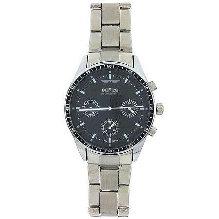 Relógio Masculino Analógico Social Berze BS071 - Prata e Preto