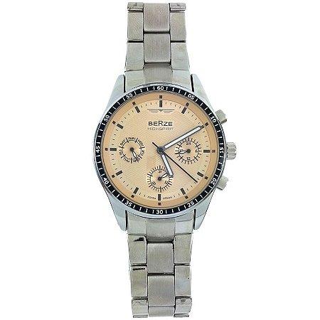 Relógio Masculino Analógico Social Berze BS071 - Prata e Salmão