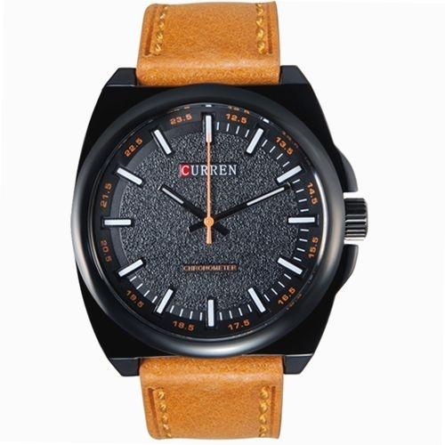 Relógio Masculino Curren Analógico 8168 Marrom Claro e Preto