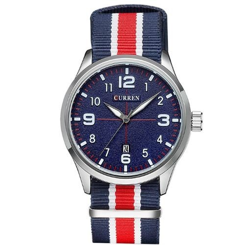 Relógio Masculino Curren Analógico 8195 Prata e Azul